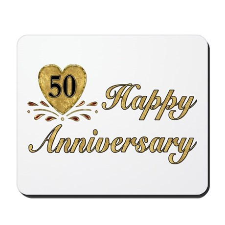 50th Anniversary Golden Heart Mousepad