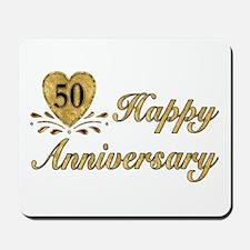 50th Anniversary Golden Heart Mousepad