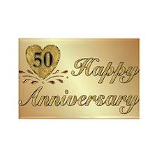 50th Anniversary Golden Heart Rectangle Magnet