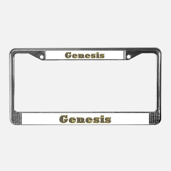 Genesis Gold Diamond Bling License Plate Frame