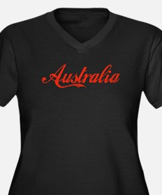 Vintage Australia Women's Plus Size V-Neck Dark T-