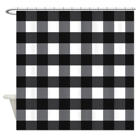 gingham checks black white shower curtain