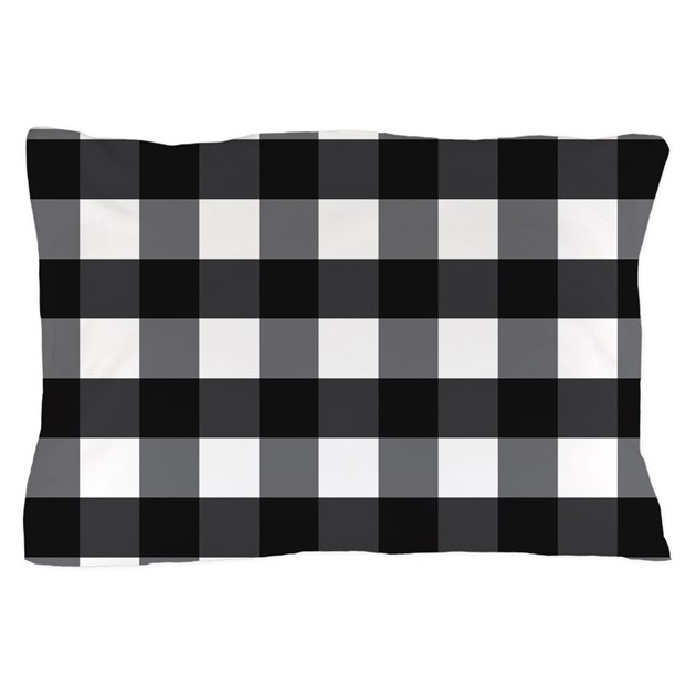 Gingham checks black white pillow case by mainstreethomewares2 for White craft pillow cases