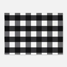 Gingham Checks black white 5'x7'Area Rug