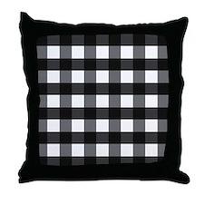 Gingham Checks black white Throw Pillow