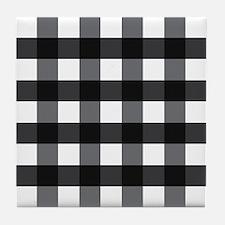 Gingham Checks black white Tile Coaster