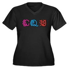 CQU Women's Plus Size V-Neck Dark T-Shirt
