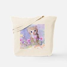 Blue eyed kitten in flowers field Tote Bag