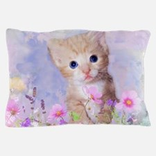 Blue eyed kitten in flowers field Pillow Case