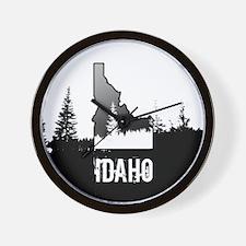 Idaho: Black and White Wall Clock