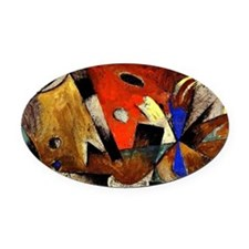 Abstract Composition Oval Car Magnet
