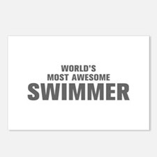WORLDS MOST AWESOME Swimmer-Akz gray 500 Postcards