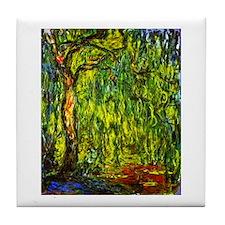 Claude Monet Weeping Willow Tile Coaster