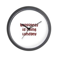 happiness is being Lyndsey Wall Clock