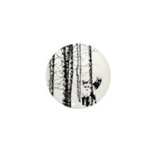 Fox in Birch Forest Modern Art Mini Button (100 pa