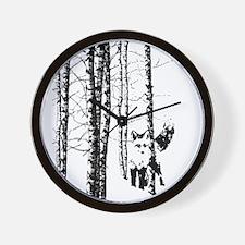 Fox in Birch Forest Modern Art Wall Clock