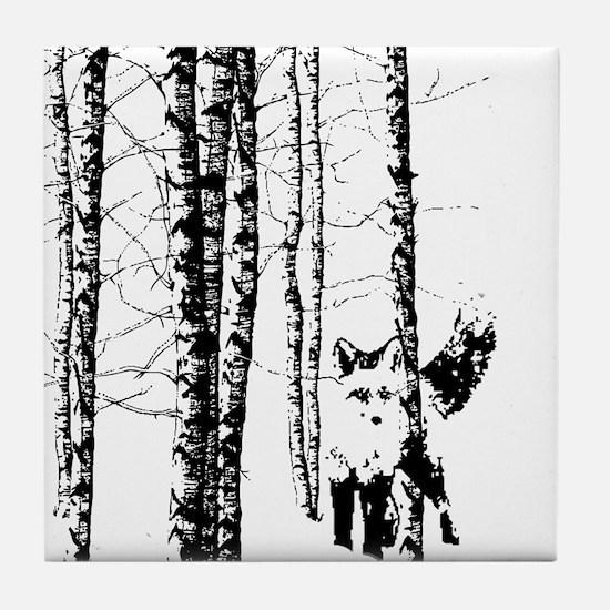 Fox in Birch Forest Modern Art Tile Coaster