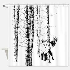 Fox in Birch Forest Modern Art Shower Curtain