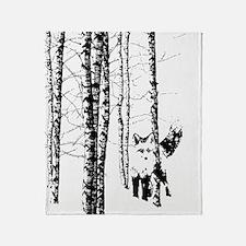 Fox In Birch Forest Modern Art Throw Blanket