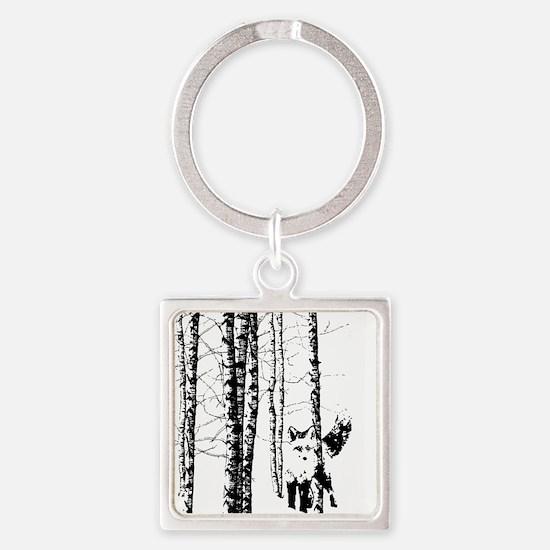 Fox in Birch Forest Modern Art Keychains