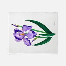 Hanging Purple Iris Throw Blanket
