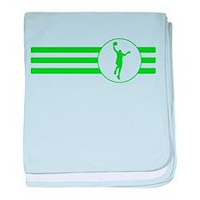 Basketball Layup Stripes (Green) baby blanket