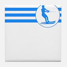Water Skier Stripes (Blue) Tile Coaster