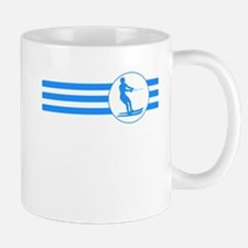 Water Skier Stripes (Blue) Mugs