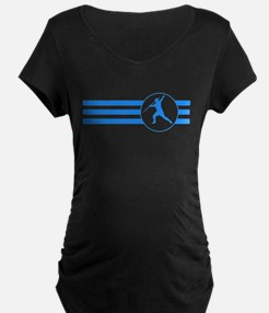 Javelin Throw Stripes (Blue) Maternity T-Shirt