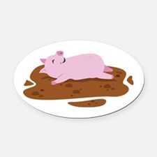 Happy Pig Oval Car Magnet