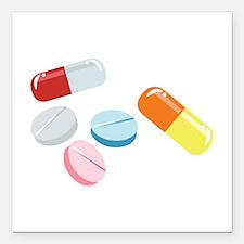 "Mixed Pills Square Car Magnet 3"" x 3"""
