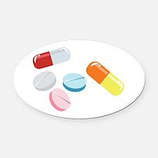 Mixed Pills Oval Car Magnet