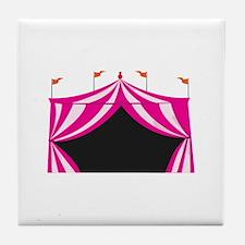 Pink Circus Tent Tile Coaster