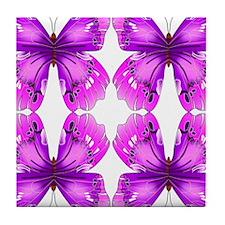 Mirrored Awareness Butterflies Tile Coaster