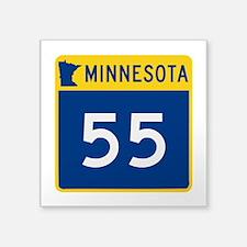 "Trunk Highway 55, Minnesota Square Sticker 3"" x 3"""