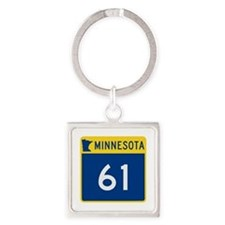 Trunk Highway 61, Minnesota Square Keychain