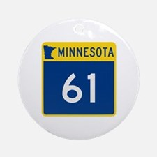 Trunk Highway 61, Minnesota Ornament (Round)