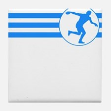 Discus Throw Stripes (Blue) Tile Coaster