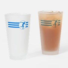 Discus Throw Stripes (Blue) Drinking Glass
