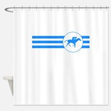 Horse Racing Stripes (Blue) Shower Curtain