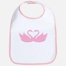 Pink swans heart Bib