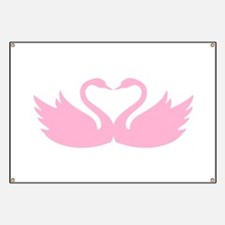 Pink swans heart Banner