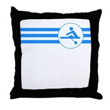 Rower Stripes (Blue) Throw Pillow