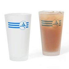 Rower Stripes (Blue) Drinking Glass