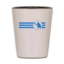 Baseball Catcher Stripes (Blue) Shot Glass