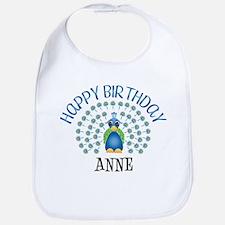 Happy Birthday ANNE (peacock) Bib