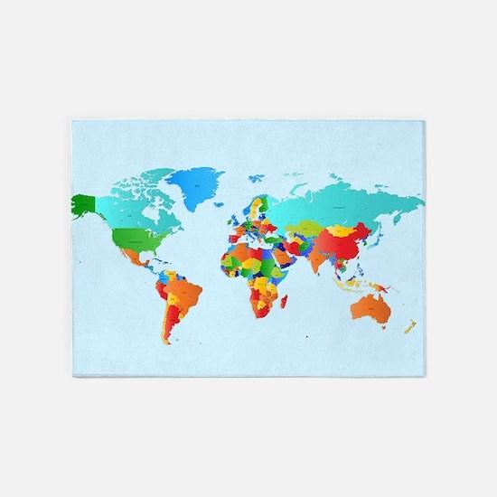 World Map 5'x7'Area Rug