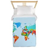 World map Twin Duvet Covers