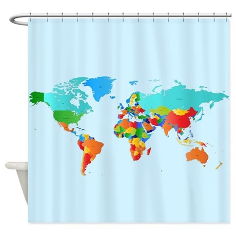 World Map Shower Curtain By WickedDesigns4