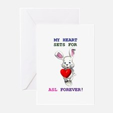 My heart is set for ASL Forev Greeting Cards (Pk o